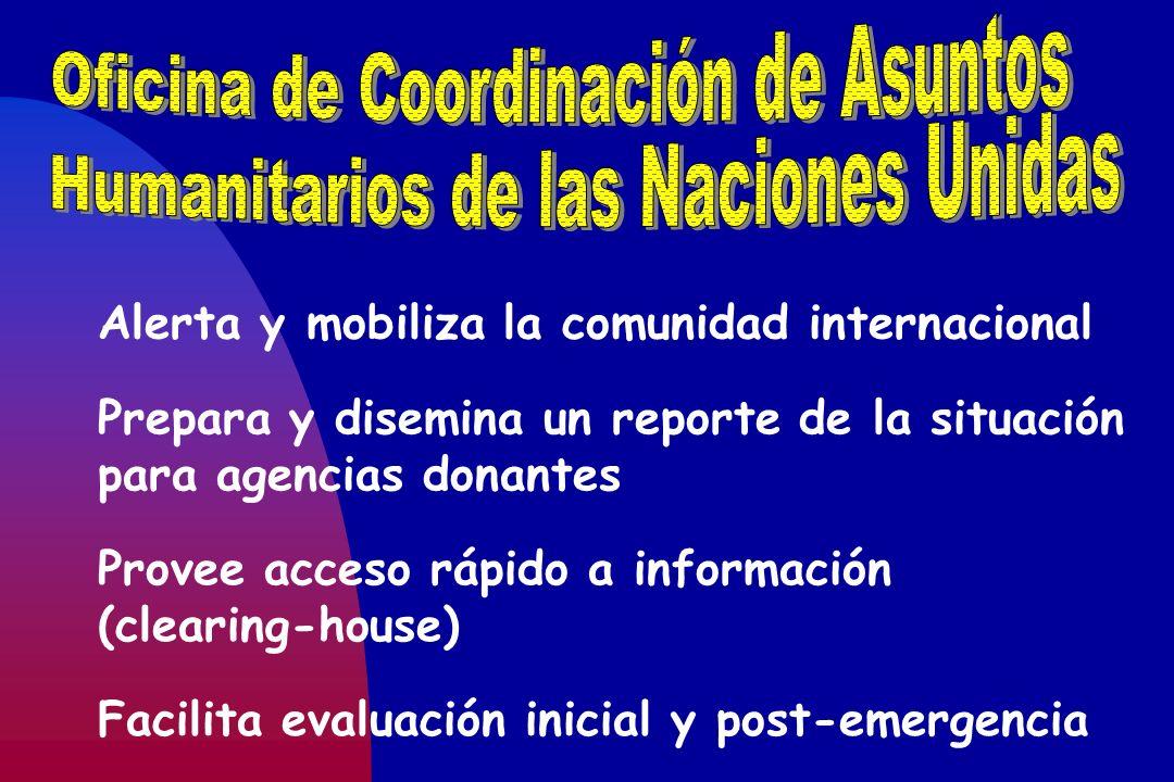 Alerta y mobiliza la comunidad internacional Prepara y disemina un reporte de la situación para agencias donantes Provee acceso rápido a información (