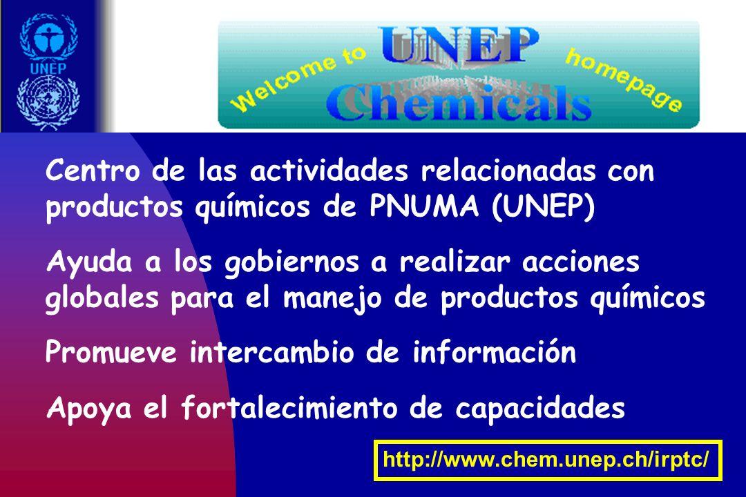 Centro de las actividades relacionadas con productos químicos de PNUMA (UNEP) Ayuda a los gobiernos a realizar acciones globales para el manejo de pro