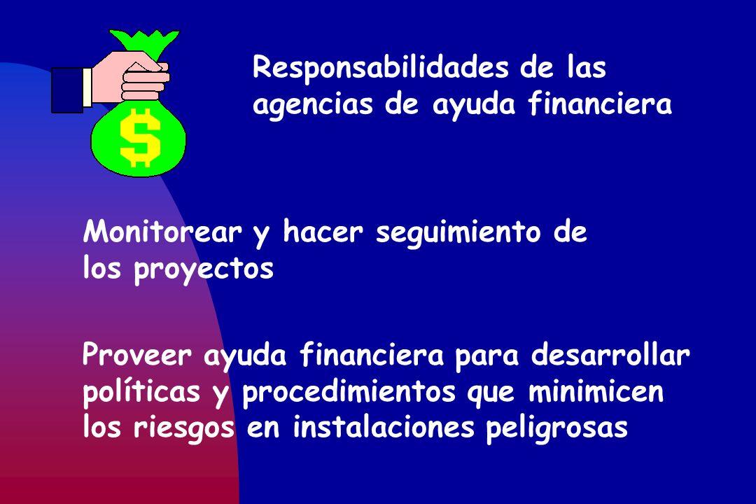 Responsabilidades de las agencias de ayuda financiera Monitorear y hacer seguimiento de los proyectos Proveer ayuda financiera para desarrollar políti