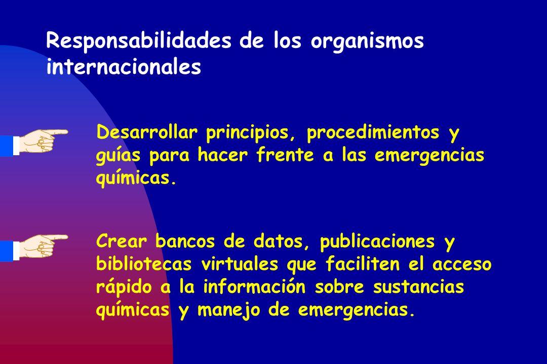 Responsabilidades de los organismos internacionales Desarrollar principios, procedimientos y guías para hacer frente a las emergencias químicas. Crear