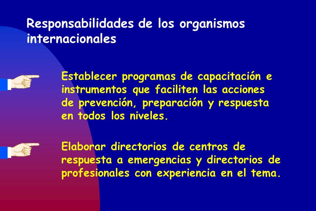 Responsabilidades de los organismos internacionales Establecer programas de capacitación e instrumentos que faciliten las acciones de prevención, prep