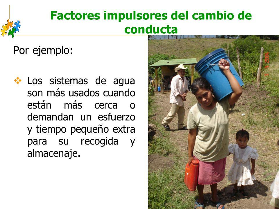 Educación sanitaria intercultural Factores impulsores del cambio de conducta Por ejemplo: Los sistemas de agua son más usados cuando están más cerca o