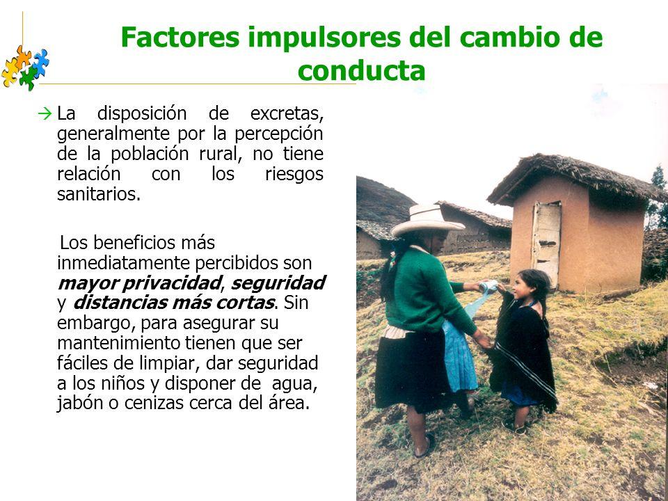 Educación sanitaria intercultural Factores impulsores del cambio de conducta La disposición de excretas, generalmente por la percepción de la población rural, no tiene relación con los riesgos sanitarios.