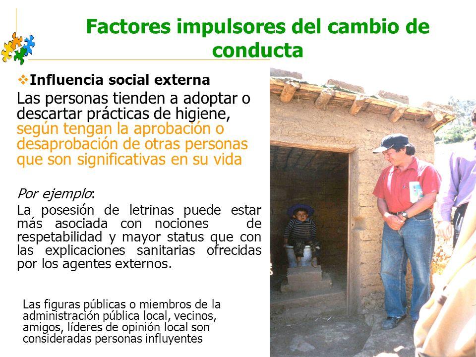 Educación sanitaria intercultural Factores impulsores del cambio de conducta Influencia social externa Las personas tienden a adoptar o descartar prác