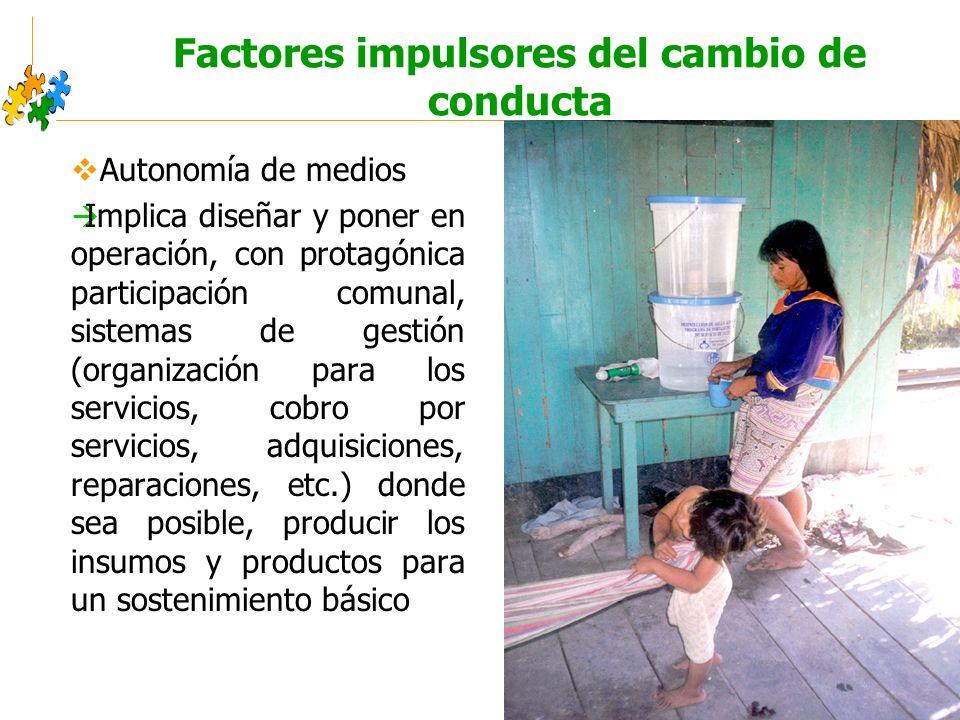 Educación sanitaria intercultural Factores impulsores del cambio de conducta Autonomía de medios Implica diseñar y poner en operación, con protagónica