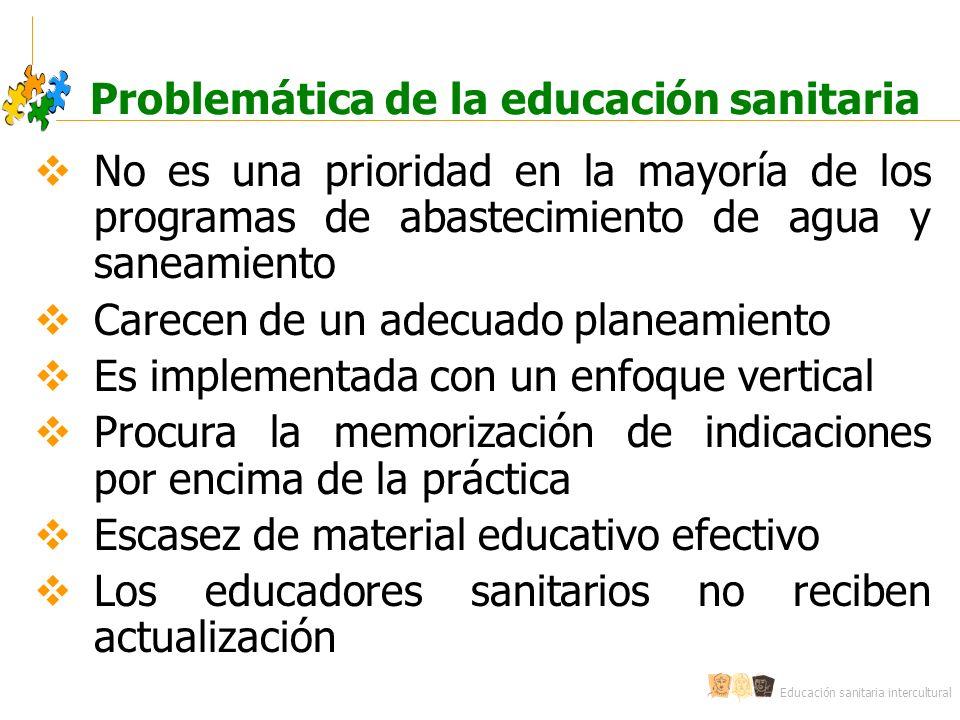 Educación sanitaria intercultural Problemática de la educación sanitaria No es una prioridad en la mayoría de los programas de abastecimiento de agua