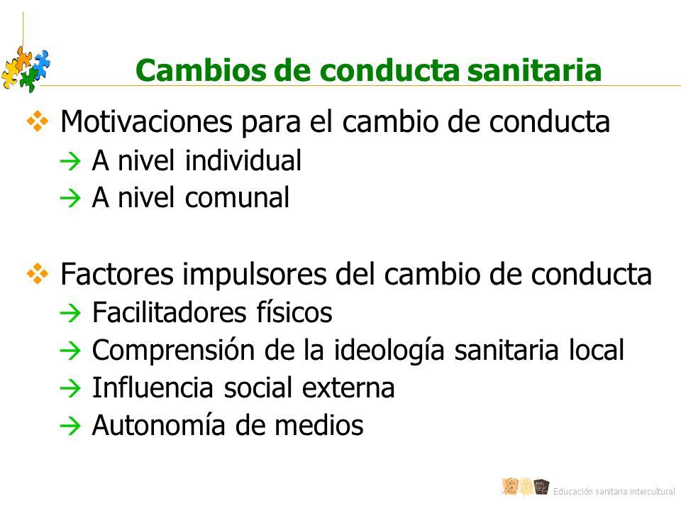 Educación sanitaria intercultural Cambios de conducta sanitaria Motivaciones para el cambio de conducta A nivel individual A nivel comunal Factores im
