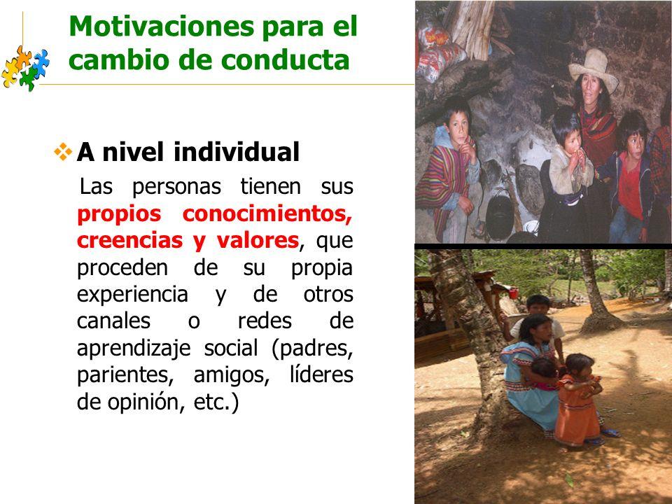 Educación sanitaria intercultural Motivaciones para el cambio de conducta A nivel individual Las personas tienen sus propios conocimientos, creencias