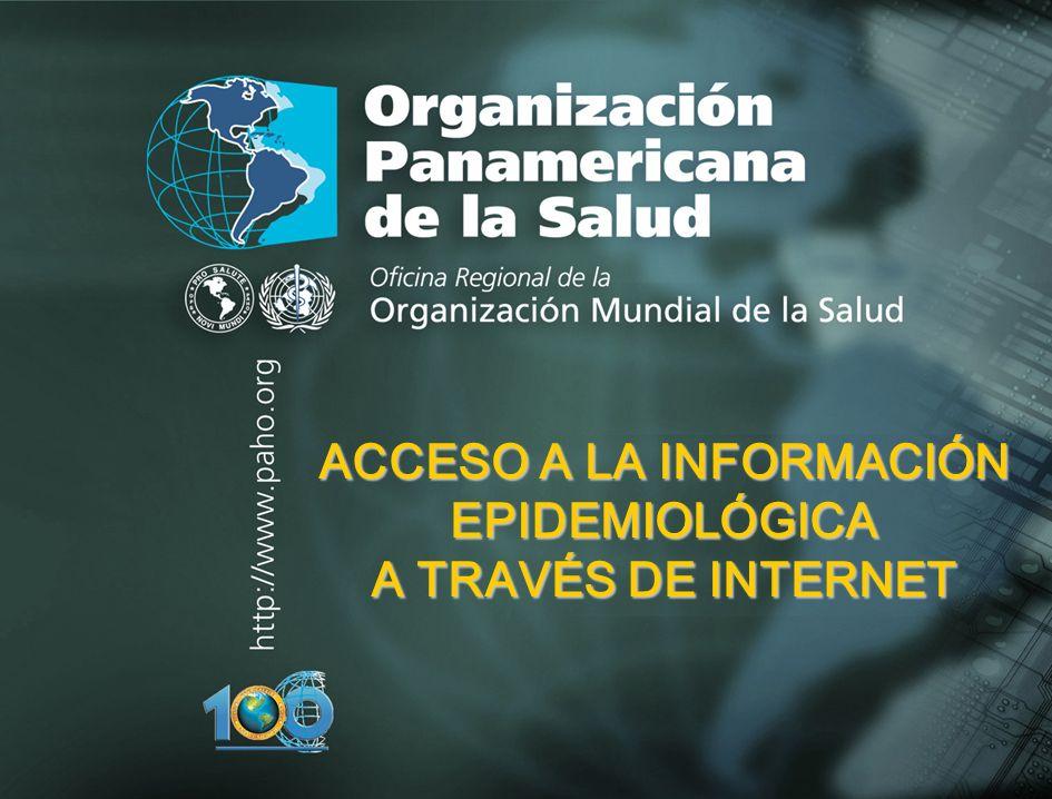 2003 Organización Panamericana de la Salud Aplicación del Método Epidemiológico a la Investigación en Salud Ocupacional ACCESO A LA INFORMACIÓN EPIDEMIOLÓGICA A TRAVÉS DE INTERNET
