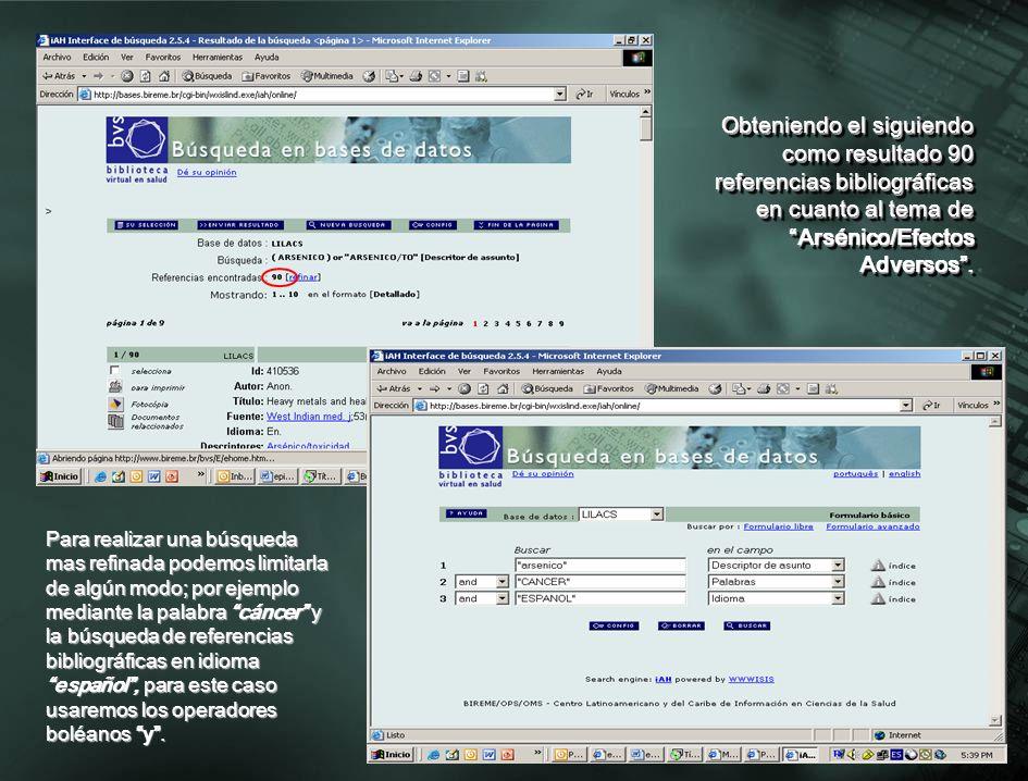 Obteniendo como resultado once referencias bibliográficas en el tema de ARSENICO Y CANCER, EN IDIOMA ESPAÑOL.