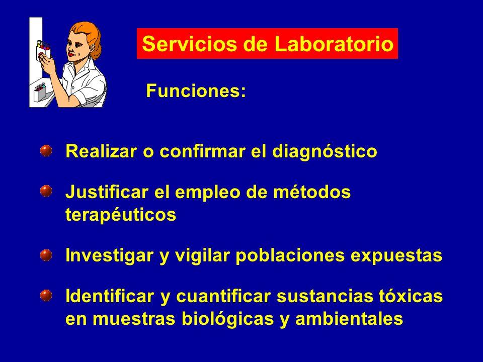 Servicios de Laboratorio Funciones: Realizar o confirmar el diagnóstico Justificar el empleo de métodos terapéuticos Investigar y vigilar poblaciones