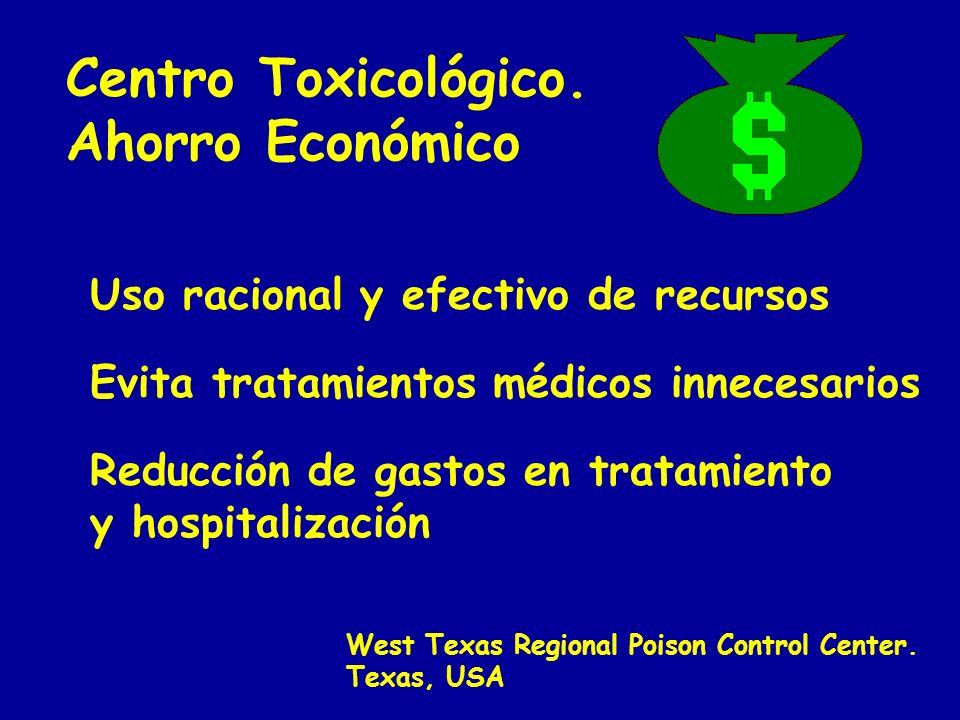 Centro Toxicológico. Ahorro Económico West Texas Regional Poison Control Center. Texas, USA Uso racional y efectivo de recursos Evita tratamientos méd