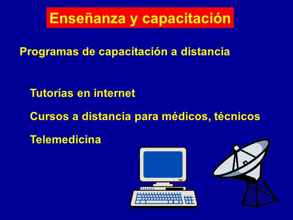 Enseñanza y capacitación Programas de capacitación a distancia Tutorías en internet Cursos a distancia para médicos, técnicos Telemedicina