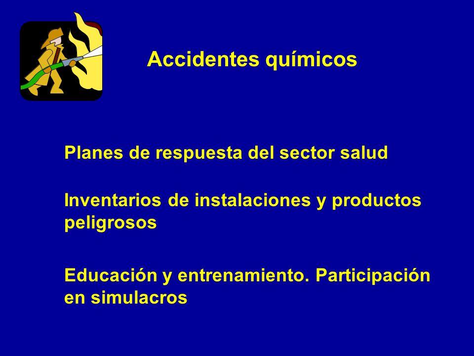 Accidentes químicos Planes de respuesta del sector salud Inventarios de instalaciones y productos peligrosos Educación y entrenamiento. Participación
