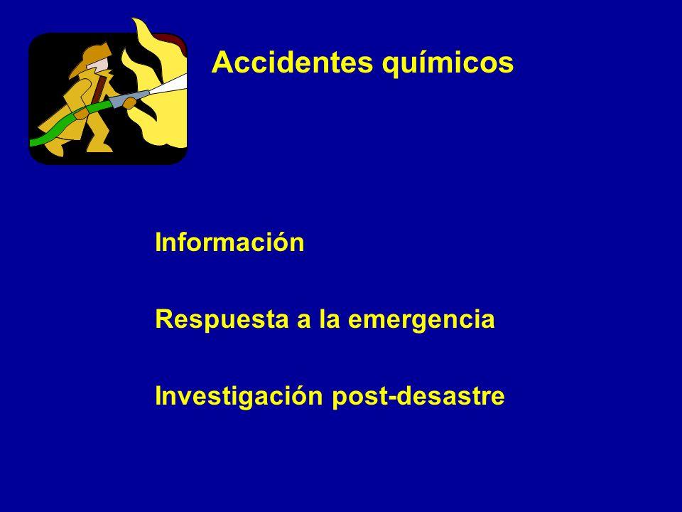 Accidentes químicos Información Respuesta a la emergencia Investigación post-desastre
