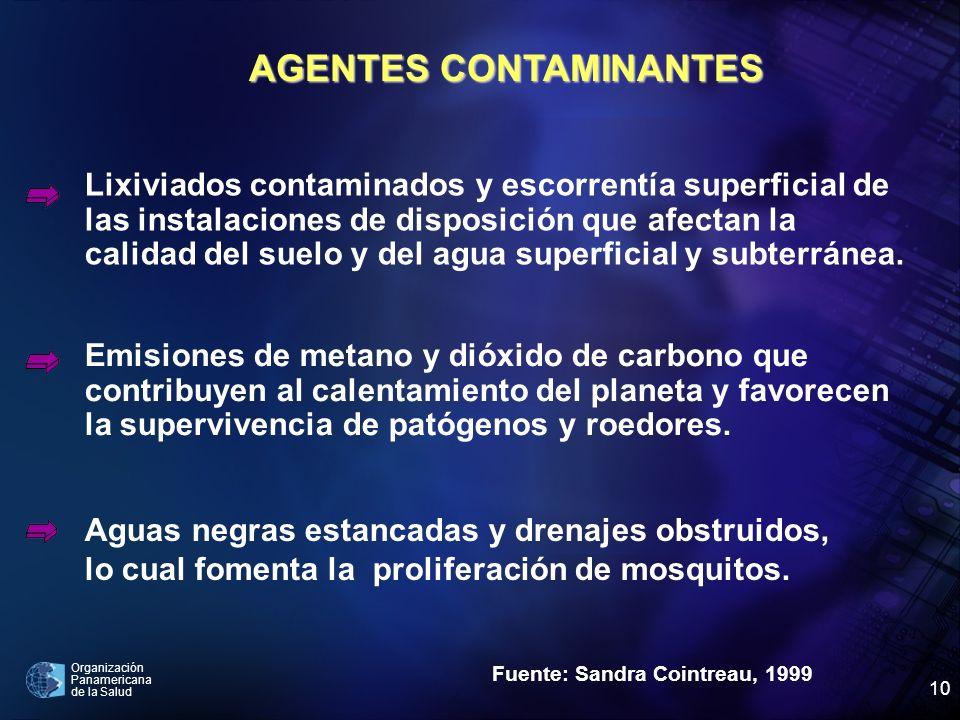 Organización Panamericana de la Salud 10 AGENTES CONTAMINANTES Fuente: Sandra Cointreau, 1999 Lixiviados contaminados y escorrentía superficial de las