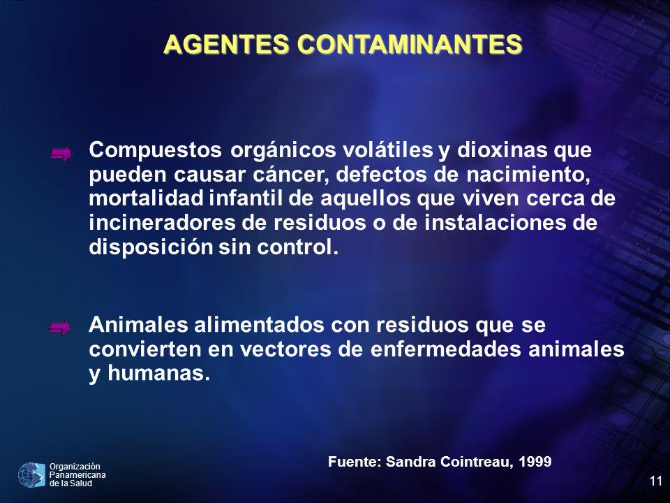 Organización Panamericana de la Salud 11 Fuente: Sandra Cointreau, 1999 Compuestos orgánicos volátiles y dioxinas que pueden causar cáncer, defectos d