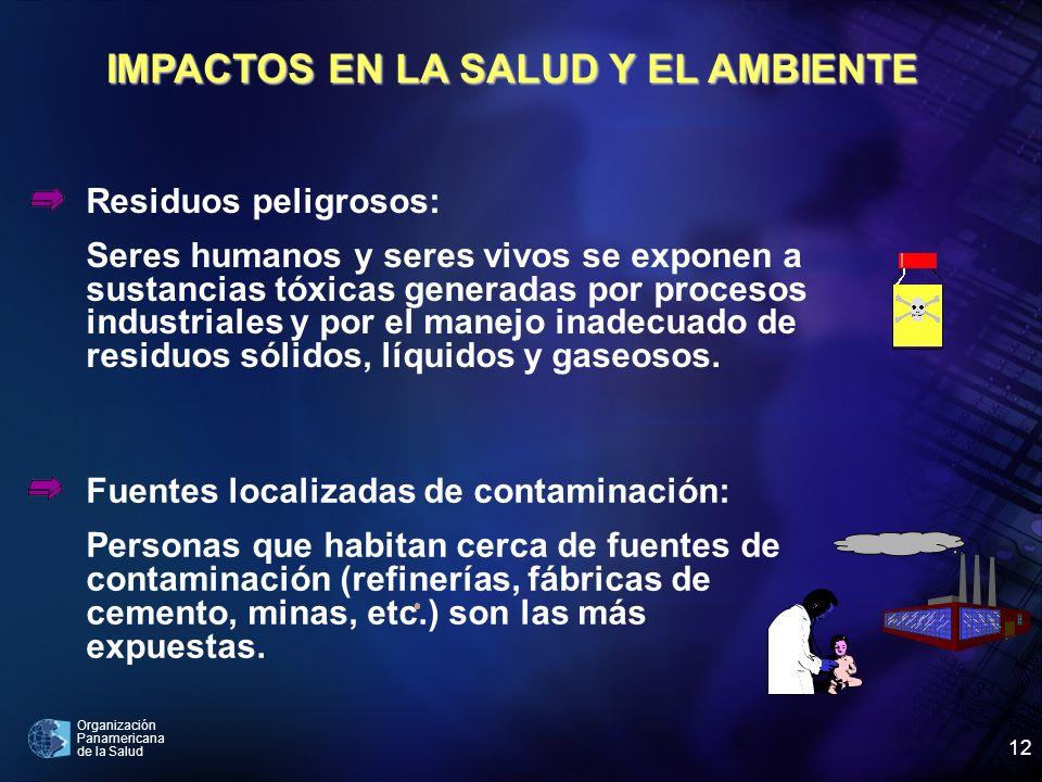 Organización Panamericana de la Salud 12 IMPACTOS EN LA SALUD Y EL AMBIENTE Residuos peligrosos: Seres humanos y seres vivos se exponen a sustancias t