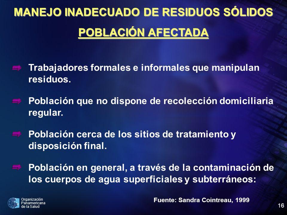 Organización Panamericana de la Salud 16 Fuente: Sandra Cointreau, 1999 Trabajadores formales e informales que manipulan residuos. Población que no di