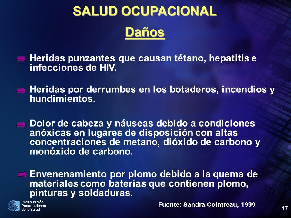 Organización Panamericana de la Salud 17 SALUD OCUPACIONAL Daños Fuente: Sandra Cointreau, 1999 Heridas punzantes que causan tétano, hepatitis e infec