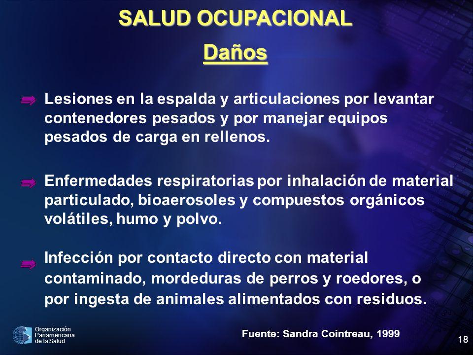 Organización Panamericana de la Salud 18 Fuente: Sandra Cointreau, 1999 Lesiones en la espalda y articulaciones por levantar contenedores pesados y po