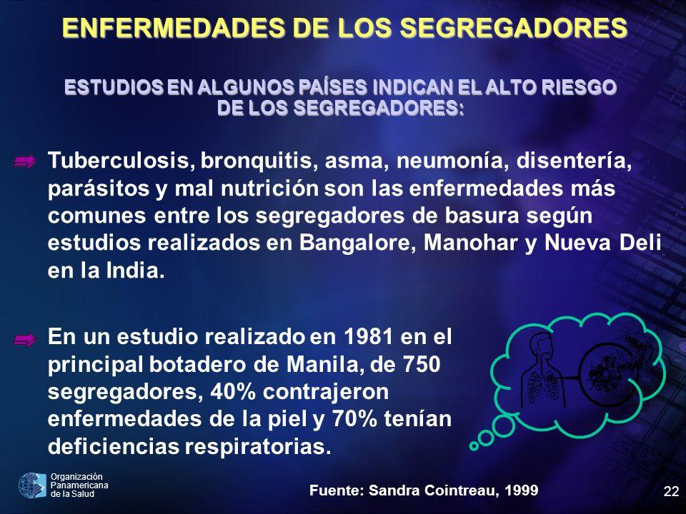 Organización Panamericana de la Salud 22 ESTUDIOS EN ALGUNOS PAÍSES INDICAN EL ALTO RIESGO DE LOS SEGREGADORES: Tuberculosis, bronquitis, asma, neumon
