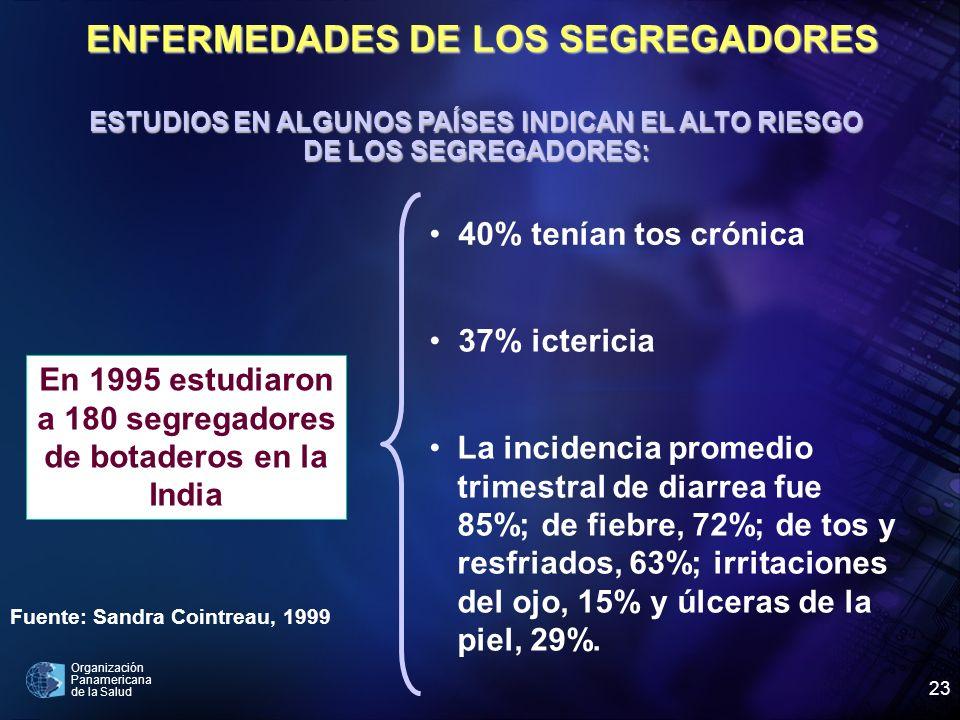 Organización Panamericana de la Salud 23 En 1995 estudiaron a 180 segregadores de botaderos en la India 40% tenían tos crónica 37% ictericia La incide