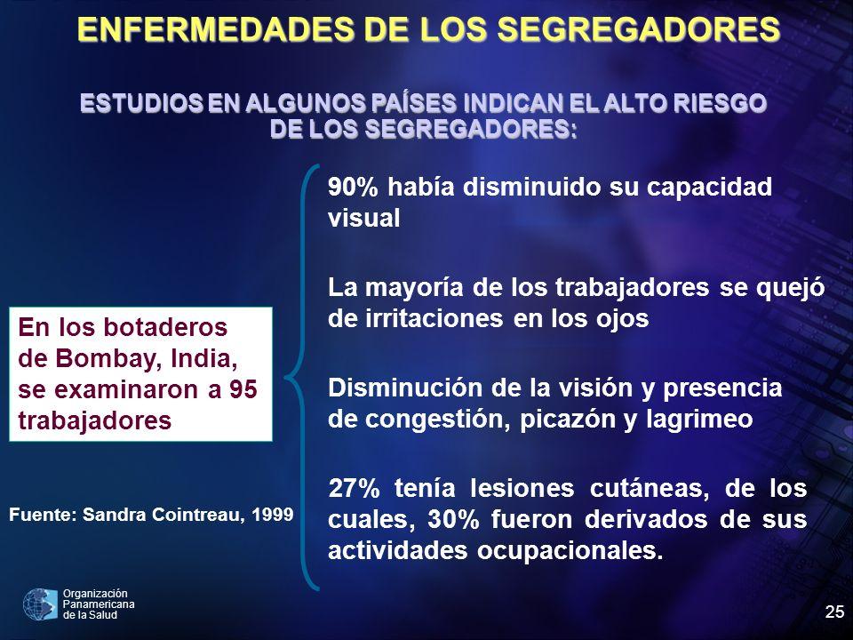Organización Panamericana de la Salud 25 27% tenía lesiones cutáneas, de los cuales, 30% fueron derivados de sus actividades ocupacionales. En los bot