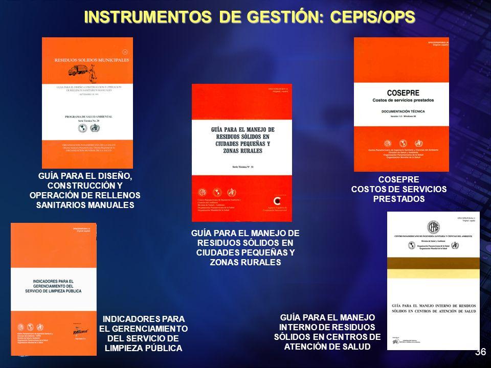 Organización Panamericana de la Salud 36 INSTRUMENTOS DE GESTIÓN: CEPIS/OPS GUÍA PARA EL DISEÑO, CONSTRUCCIÓN Y OPERACIÓN DE RELLENOS SANITARIOS MANUA