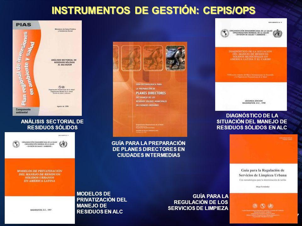 Organización Panamericana de la Salud 37 INSTRUMENTOS DE GESTIÓN: CEPIS/OPS ANÁLISIS SECTORIAL DE RESIDUOS SÓLIDOS GUÍA PARA LA PREPARACIÓN DE PLANES