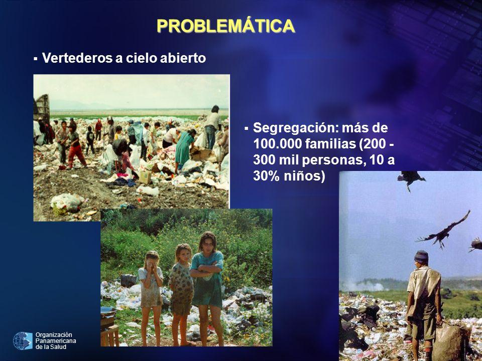 Organización Panamericana de la Salud 4 Vertederos a cielo abierto Segregación: más de 100.000 familias (200 - 300 mil personas, 10 a 30% niños) PROBL