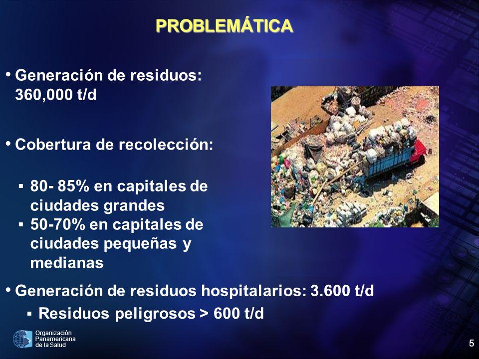 Organización Panamericana de la Salud 5 Cobertura de recolección: Generación de residuos: 360,000 t/d 80- 85% en capitales de ciudades grandes 50-70%