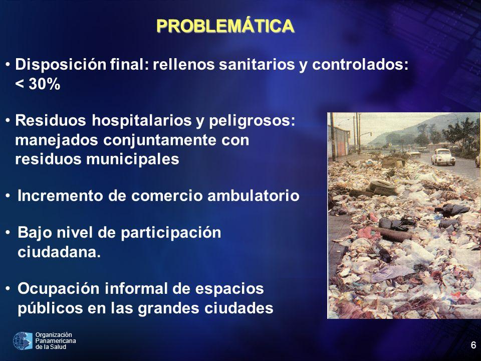 Organización Panamericana de la Salud 6 Incremento de comercio ambulatorio Disposición final: rellenos sanitarios y controlados: < 30% Bajo nivel de p