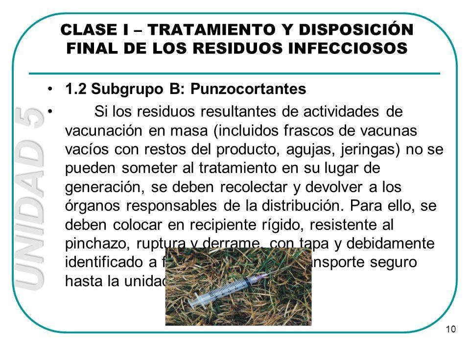 UNIDAD 5 10 CLASE I – TRATAMIENTO Y DISPOSICIÓN FINAL DE LOS RESIDUOS INFECCIOSOS 1.2 Subgrupo B: Punzocortantes Si los residuos resultantes de activi