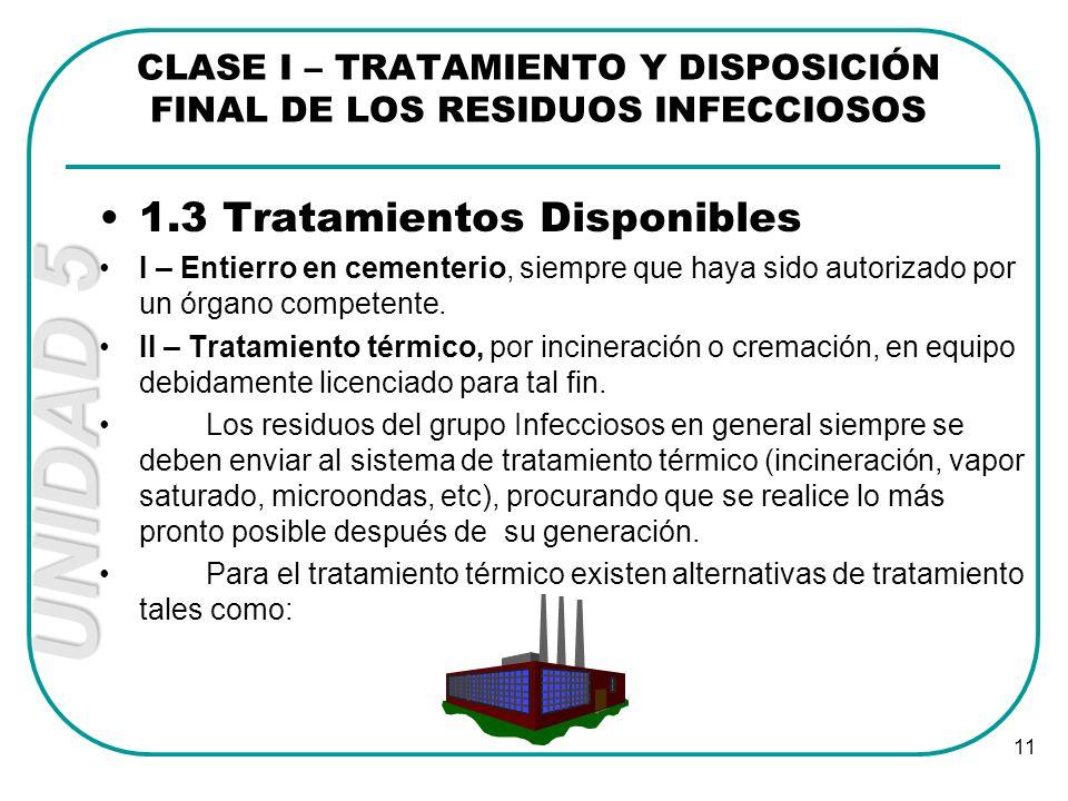 UNIDAD 5 11 1.3 Tratamientos Disponibles I – Entierro en cementerio, siempre que haya sido autorizado por un órgano competente. II – Tratamiento térmi
