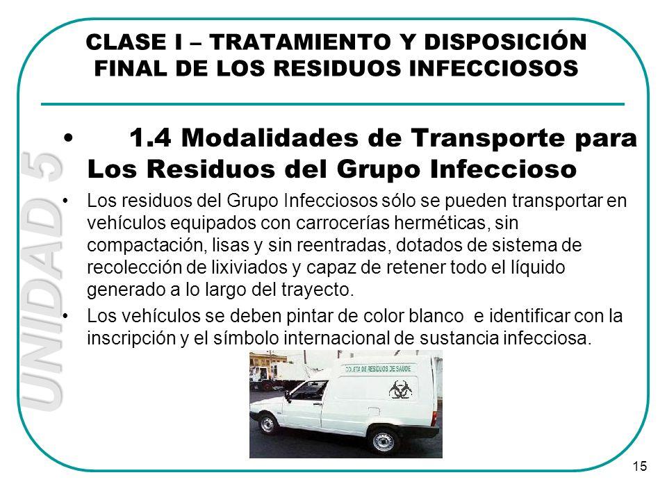UNIDAD 5 15 1.4 Modalidades de Transporte para Los Residuos del Grupo Infeccioso Los residuos del Grupo Infecciosos sólo se pueden transportar en vehí