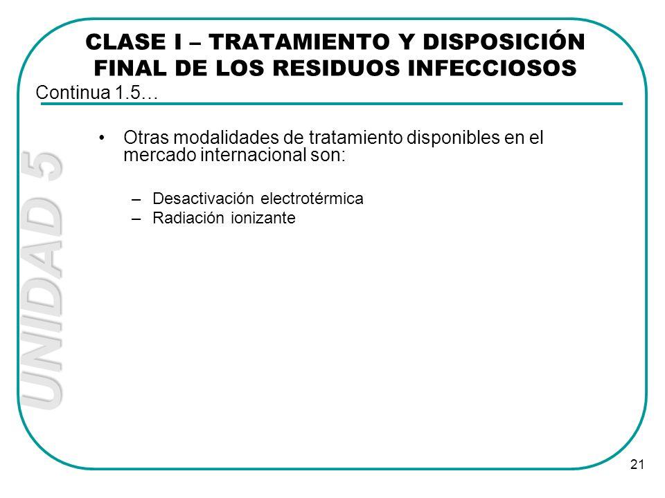 UNIDAD 5 21 Otras modalidades de tratamiento disponibles en el mercado internacional son: –Desactivación electrotérmica –Radiación ionizante CLASE I –