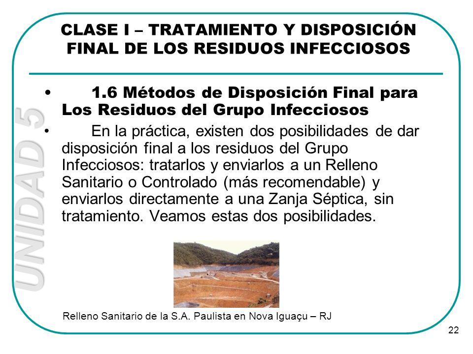 UNIDAD 5 22 CLASE I – TRATAMIENTO Y DISPOSICIÓN FINAL DE LOS RESIDUOS INFECCIOSOS 1.6 Métodos de Disposición Final para Los Residuos del Grupo Infecci