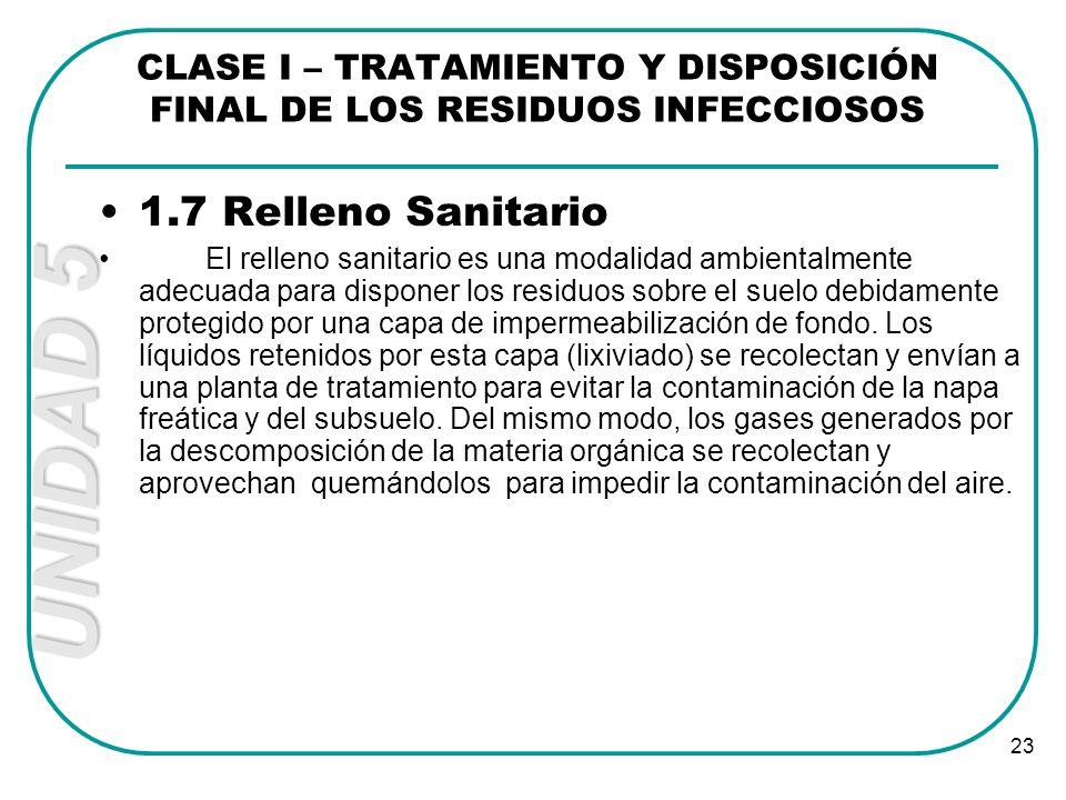 UNIDAD 5 23 1.7 Relleno Sanitario El relleno sanitario es una modalidad ambientalmente adecuada para disponer los residuos sobre el suelo debidamente