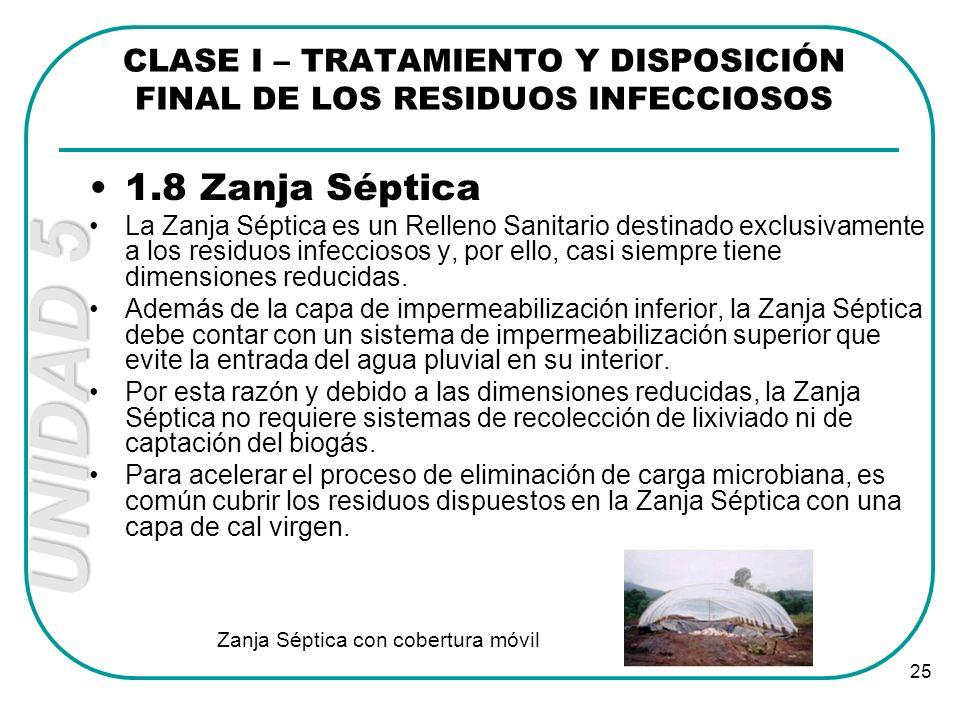 UNIDAD 5 25 1.8 Zanja Séptica La Zanja Séptica es un Relleno Sanitario destinado exclusivamente a los residuos infecciosos y, por ello, casi siempre t