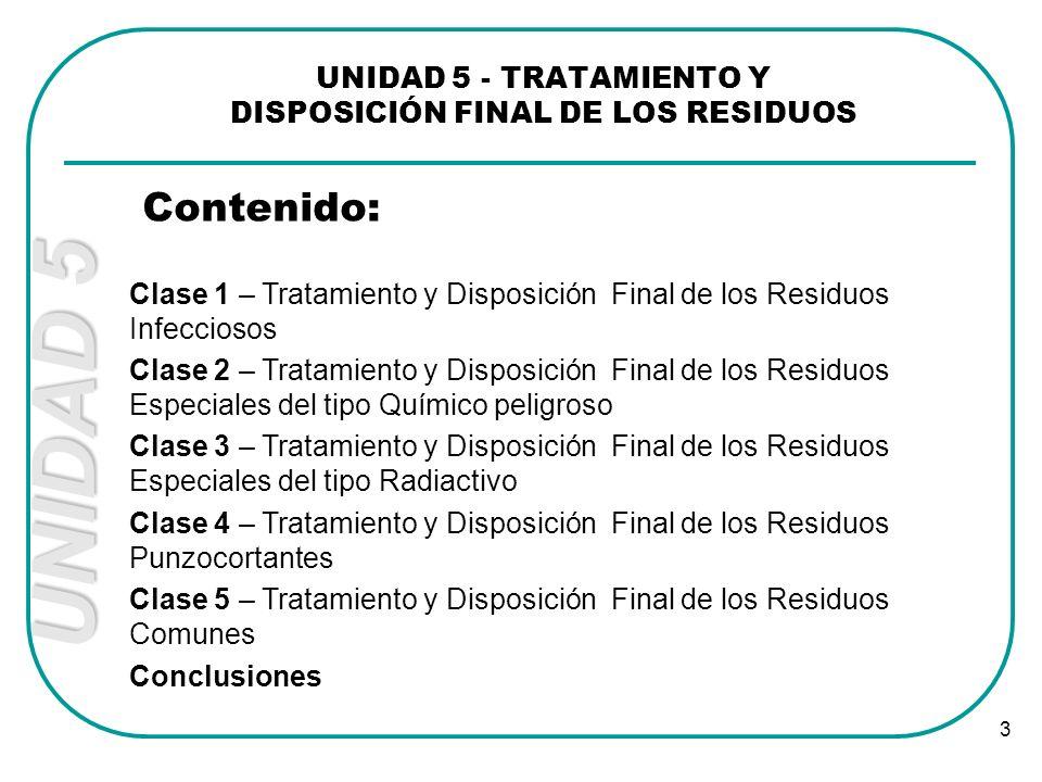 UNIDAD 5 3 UNIDAD 5 - TRATAMIENTO Y DISPOSICIÓN FINAL DE LOS RESIDUOS Contenido: Clase 1 – Tratamiento y Disposición Final de los Residuos Infecciosos