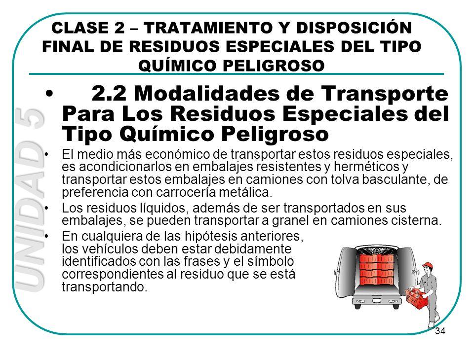 UNIDAD 5 34 2.2 Modalidades de Transporte Para Los Residuos Especiales del Tipo Químico Peligroso El medio más económico de transportar estos residuos