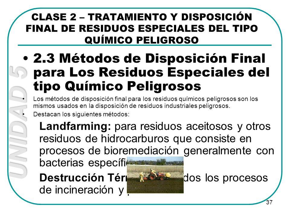 UNIDAD 5 37 2.3 Métodos de Disposición Final para Los Residuos Especiales del tipo Químico Peligrosos Los métodos de disposición final para los residu