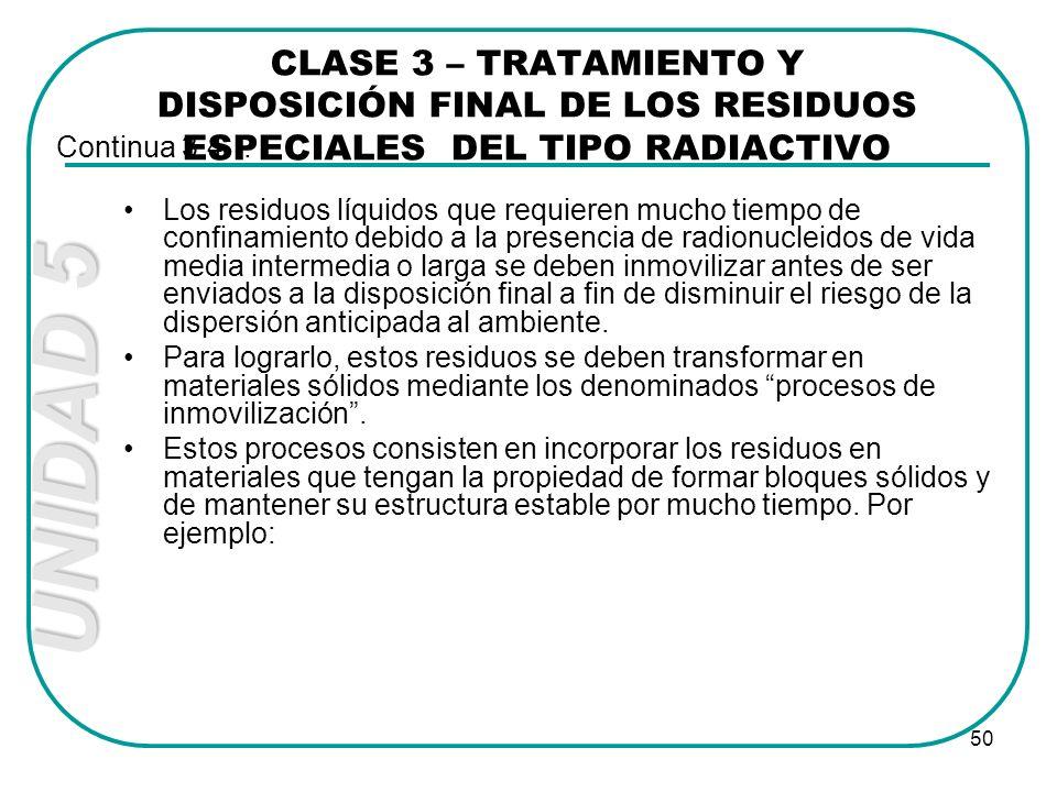 UNIDAD 5 50 Los residuos líquidos que requieren mucho tiempo de confinamiento debido a la presencia de radionucleidos de vida media intermedia o larga