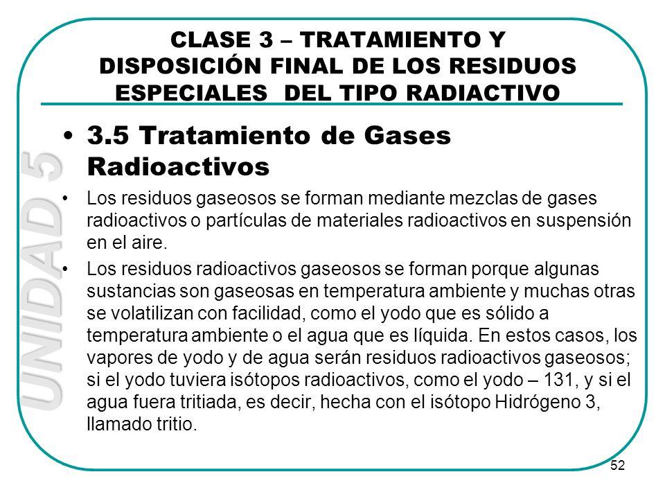 UNIDAD 5 52 3.5 Tratamiento de Gases Radioactivos Los residuos gaseosos se forman mediante mezclas de gases radioactivos o partículas de materiales ra