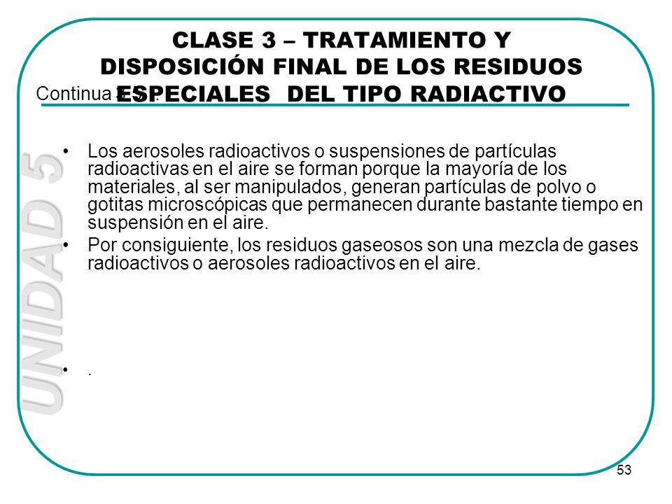 UNIDAD 5 53 Los aerosoles radioactivos o suspensiones de partículas radioactivas en el aire se forman porque la mayoría de los materiales, al ser mani