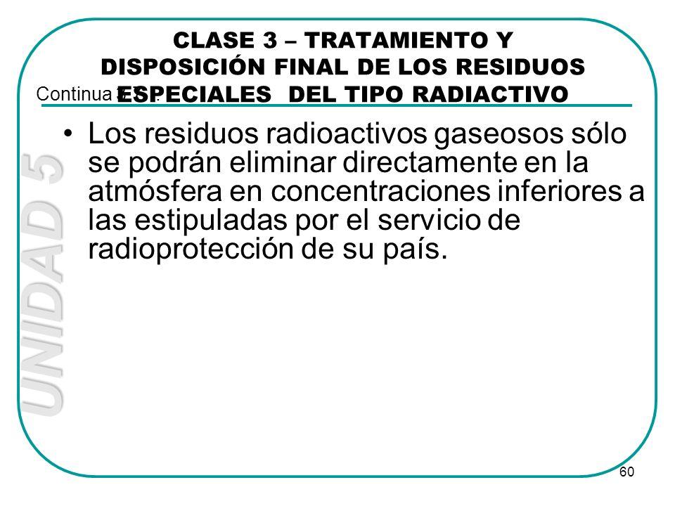 UNIDAD 5 60 Los residuos radioactivos gaseosos sólo se podrán eliminar directamente en la atmósfera en concentraciones inferiores a las estipuladas po
