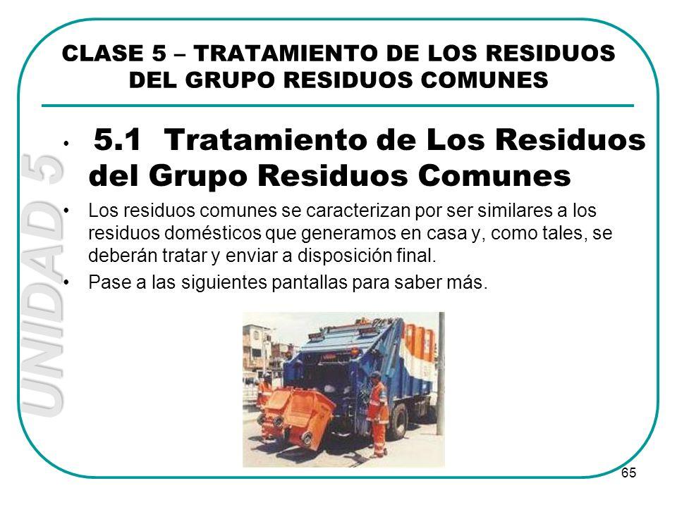 UNIDAD 5 65 CLASE 5 – TRATAMIENTO DE LOS RESIDUOS DEL GRUPO RESIDUOS COMUNES 5.1 Tratamiento de Los Residuos del Grupo Residuos Comunes Los residuos c