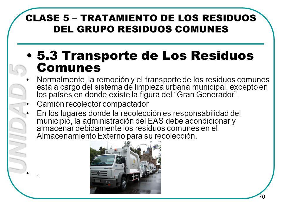 UNIDAD 5 70 5.3 Transporte de Los Residuos Comunes Normalmente, la remoción y el transporte de los residuos comunes está a cargo del sistema de limpie