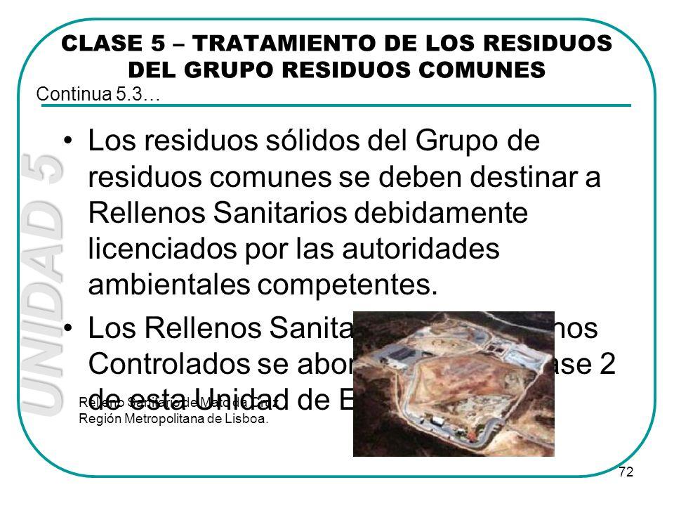 UNIDAD 5 72 Los residuos sólidos del Grupo de residuos comunes se deben destinar a Rellenos Sanitarios debidamente licenciados por las autoridades amb